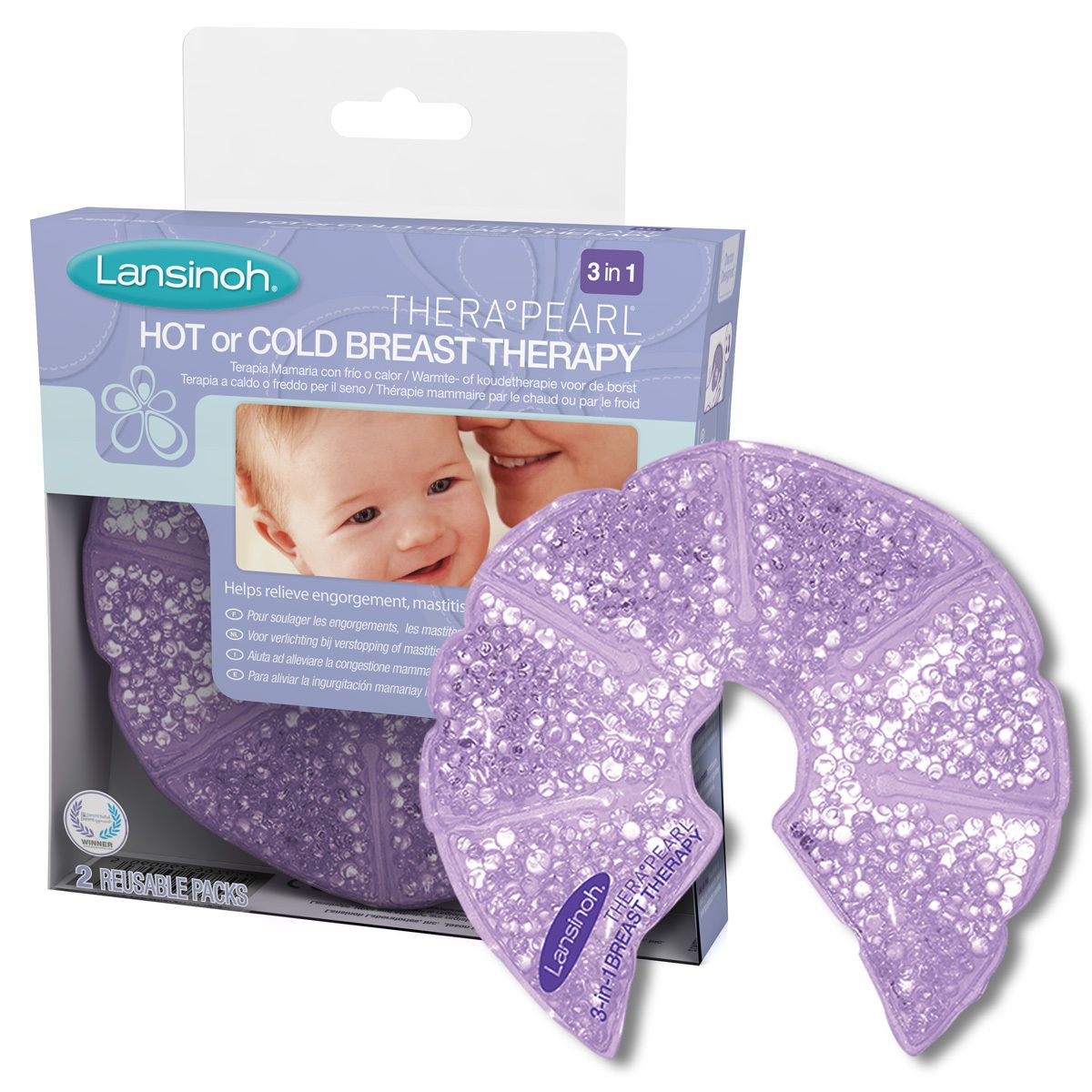 Lansinoh TheraPearl 3-in-1 Hot or Cold Breast Therapy 2 Reusable Pack